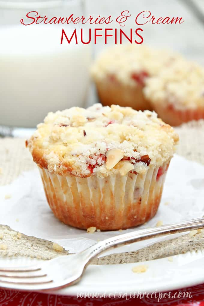 Strawberries and Cream Muffins with Almond Streusel