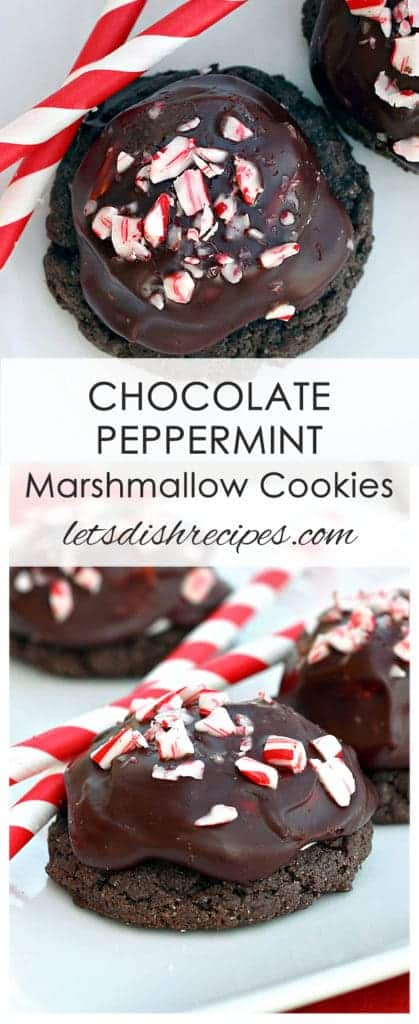 Dark Chocolate Peppermint Marshmallow Cookies