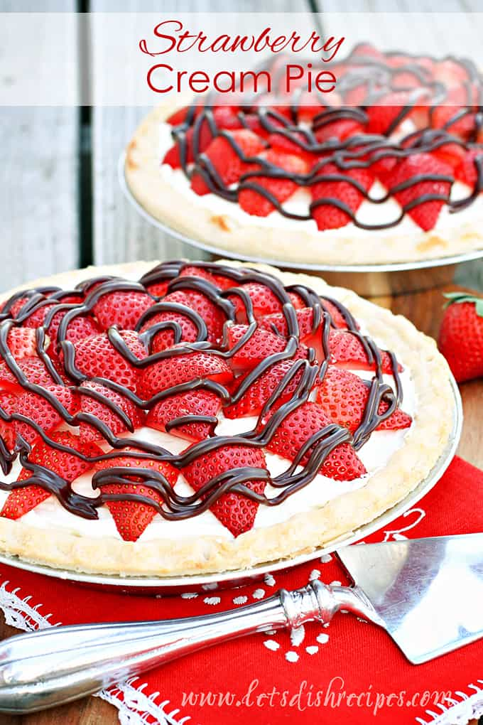 Strawberry Cream Pie with Chocolate Drizzle