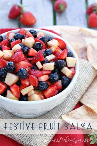 Festive Fruit Salsa in a white bowl.