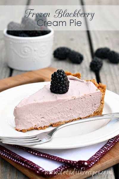 Frozen Blackberry Cream Pie