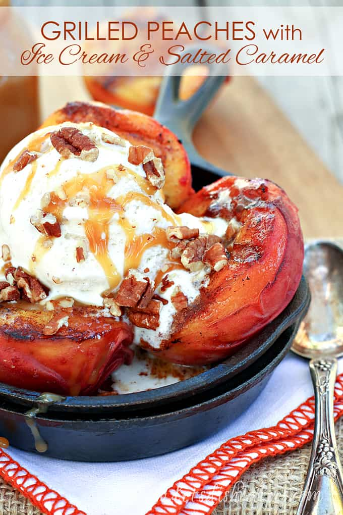 Grilled Peaches with Vanilla Ice Cream and Salted Caramel Sauce