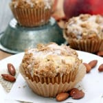 Fresh Peach Muffins with Almond Streusel
