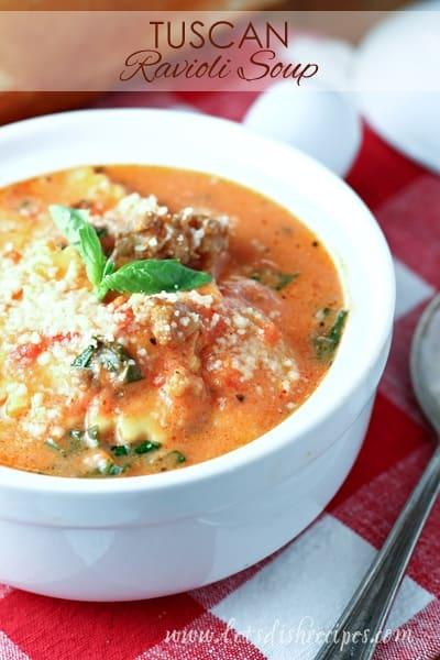 Creamy Tuscan Ravioli Soup