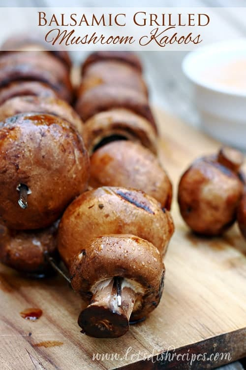 Balsamic Grilled Mushroom Kabobs with Savory Mayo Dipping Sauce