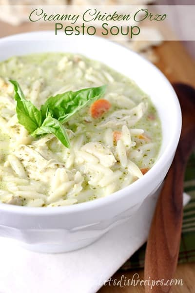Creamy Chicken Orzo Pesto Soup