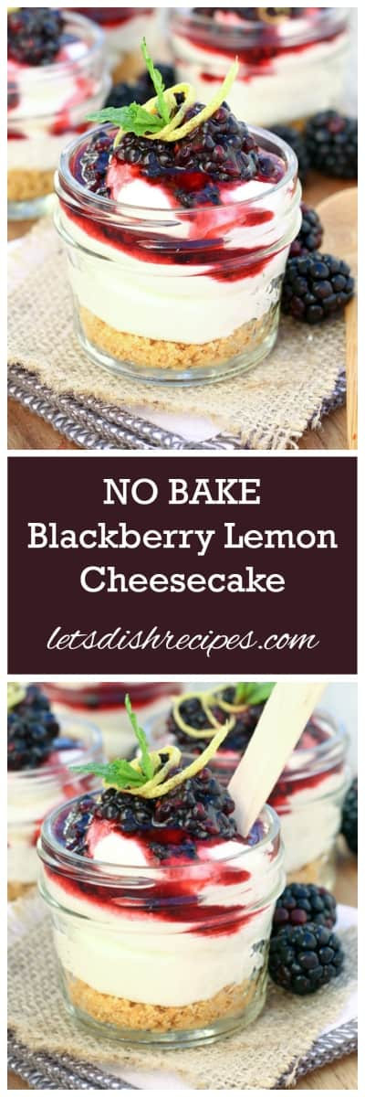 Mini No-Bake Blackberry Lemon Cheesecakes