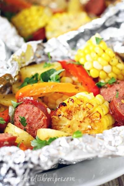 Grilled Cajun Sausage Veggie Foil Dinners