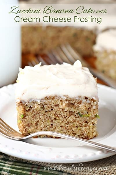 Zucchini Banana Snack Cake with Cream Cheese Frosting