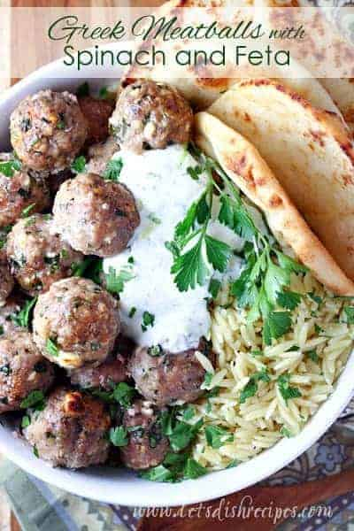 Greek Turkey Meatballs with Spinach and Feta