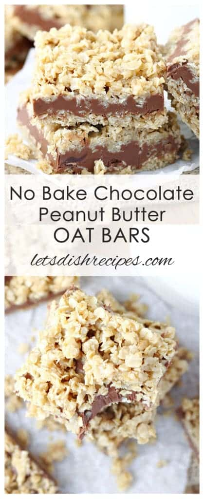 No Bake Chocolate Peanut Butter Oat Bars | Let's Dish Recipes