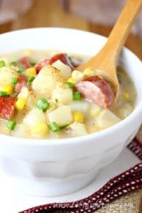 Cajun Sausage and Corn Chowder