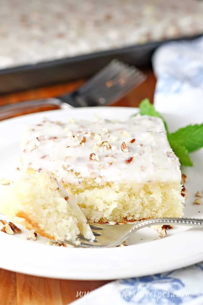 White Texas Sheet Cake | Let's Dish Recipes