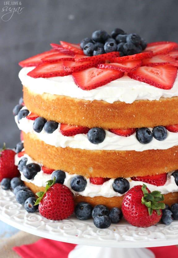 Fresh Berry Vanilla Layered Cake