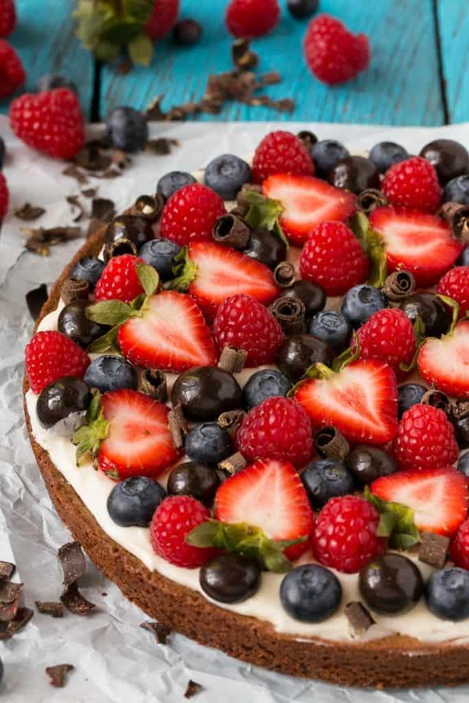 Brownie Berry Dessert Pizza