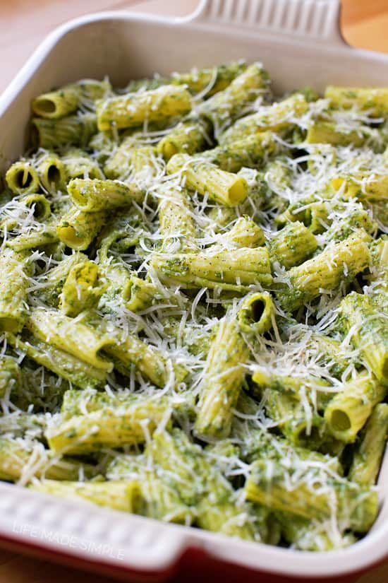 Kale Spinach and Pesto Baked Pasta