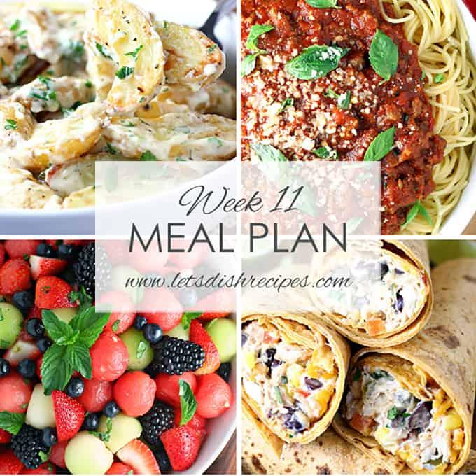 Week 11 Meal Plan