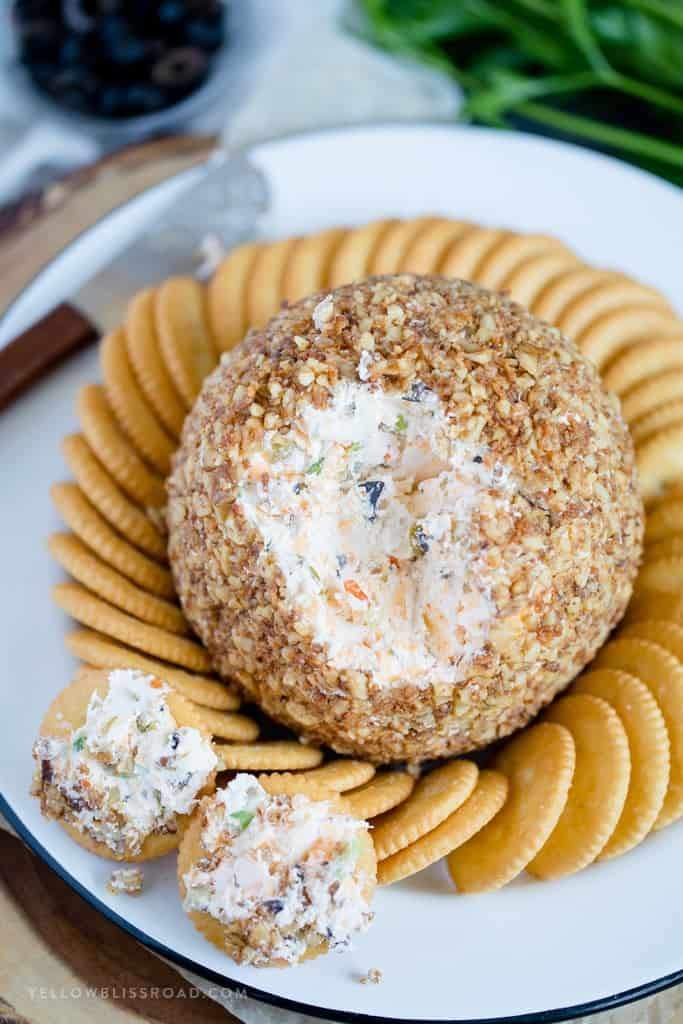 Olive Cheese Ball with Parmesan Toasted Walnuts